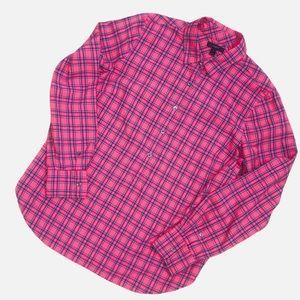 J. Crew Red Cotton Tartan Popover Shirt Size 12